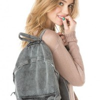 Brandy ♥ Melville |   Washed Fabric Backpack - Bags - Accessories