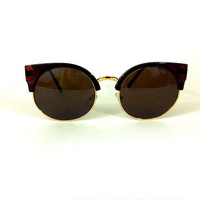 Retro Brown and Gold Cat Eye Sunglasses