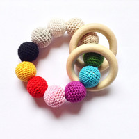 Colorful crochet teething beads, A perfect baby gift