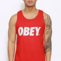 OBEY, Obey Font Tank Top - Red - Tops - MOOSE Limited