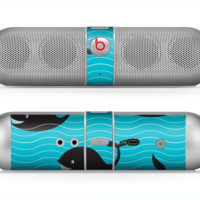 The Teal Smiling Black Whale Pattern Skin for the Beats by Dre Pill Bluetooth Speaker