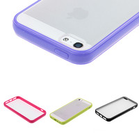 TPU Bumper Frame With Matte Clear Hard Back Skin Case Cover for iPhone 5 5S