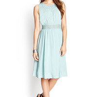 LOVE 21 Flowy Embroidered Midi Dress Seafoam