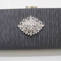 Stunning Grey Rhinestone Clutch with Removable Chain Shoulder Strap Wedding Prom Holiday Accessories Clutches Purses