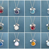 Personalized, Birthstone, Color, Initial, Silver, Necklace, Birthday, Wedding, Best friends, Mom, Gift, Jewelry