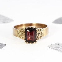 Victorian Garnet Ring, Antique 10k Rose Gold Dutch Rose Cut Pyrope, Alternative Promise Engagement Commitment Ring, January Birthstone
