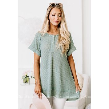 Not Your Basic Babe Sheer Waffle Top | Sage