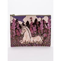 Floral Unicorn Zipper Pouch