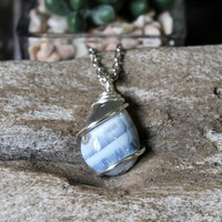 Blue Opal Necklace in Silver, Wire Wrapped Gemstone Pendant, Bohemian Jewelry, Boho Chic Wedding Style, Gypsy Hippie Bridesmaid Gift for Her