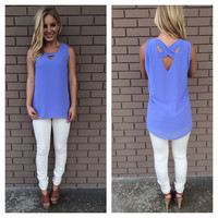 Periwinkle Sleeveless Tunic Blouse
