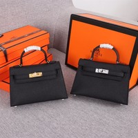 hcxx 1270 Hermes mini kelly second generation Simple Fashion Handbag black