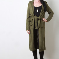 Waist Tie Long Sleeves Hooded Cardigan