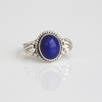 925 Sterling Silver Lapis Lazuli Ring Oval   US6.5