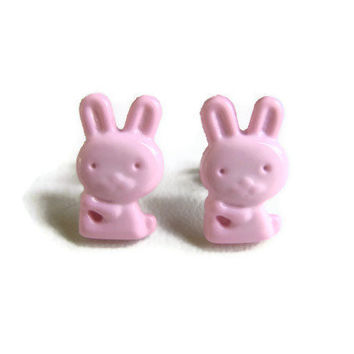Pink Bunny Earrings - Easter Bunny Earrings, Cute Pink Jewelry, Easter Gift for Girls