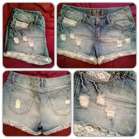 Distressed Denim Shorts with Lace Trim- Womens-Teens-Summer