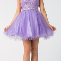 Starbox USA 6165 Embellished Waist Cap Sleeves Homecoming Dress Lilac