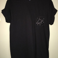 Planet and Stars Stitch Pocket T-Shirt