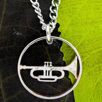Trumpet band musician cut coin necklace-thin rim