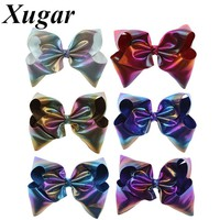 7 Inch Large Leather Colorful Loser Hair Bows for Girls Boutique Handmade Hair Clip Kids Trendy Hair Accessories