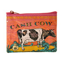 "Blue Q Coin Purses Cash Cow 4"" x 3"" 95% Post Consumer Recycled Material"
