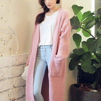 Long Sleeve Long Knit Cardigan with Double Pockets