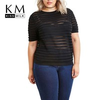Kissmilk Women Sheer Mesh Striped Patchwork T-shirts Plus Size Clubwear Tops O-neck Striped Punk Big Size  Tees for Girls 6XL