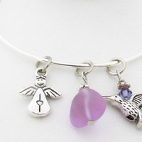 Adjustable Charm Bracelet, Angel Charm Bracelet, Bangle Bracelet, Hummingbird Bracelet