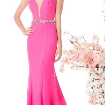Cinderella Divine CJ201 Hot Pink Plunging Neck Embellished Waist Floor Length Prom Gown