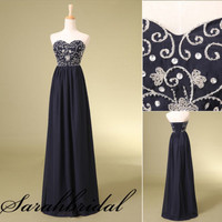 Navy Blue Sweetheart Flowers Formal Evening Party Prom Gown Bridesmaid Dresses