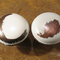 Pr Shabby Vintage Door Knobs - White POWDER - Distressed Doorknobs - A