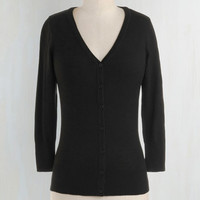 Rockabilly, Pinup, Scholastic Mid-length 3 Button Down Charter School Cardigan in Black