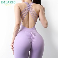 Imlario Scrunch Butt Workout Jumpsuits One Piece Long Sport Yoga Set V Cut Back Gym Tank Top Women Bra Padded Fitness Activewear