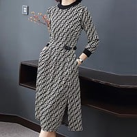 FENDI Autumn Winter Popular Women Long Sleeve Knit Round Collar Dress A-Line Skirt