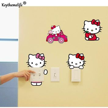 Keythemelife 10pcs/Set Hello Kitty Wall Stickers Creative PVC Removable Switch Stickers Decorative Wallpaper Home decor D2