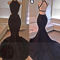 Backless Beading Mermaid Lace Black Long Prom Dress