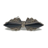 Art Deco Style Sterling Silver Onyx and Marcasite Bow Brooch, Vintage Silver Jewelry for Women, Vintage Bow Bar Pin, Grandmother Gift