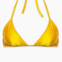 Carly Halter Triangle Bikini Top (Curves) - Yellow