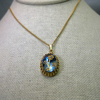 """Vintage Gold Tone  Blue Rose of Sharon Necklace by Judy Lee, 18"""", glass stones"""