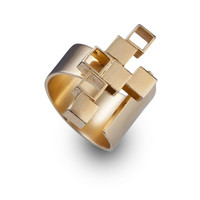 unique gold rings -  asymmetry architectural jewelry  - adjustable urban ring-Asymmetrical ring-Unisex ring-Men's Rings