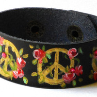 Boho Leather Bracelet Hand Painted Peace Sign Roses Rocker Chic Jewelry