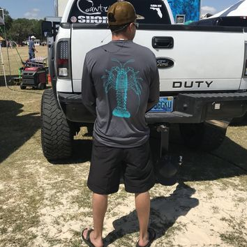Gray Lobster UPF Dry Fit Long Sleeve Tee