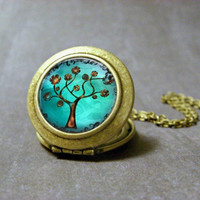 Copper Tree Locket Necklace