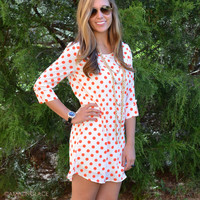 SZ LARGE Cute As A Button Red Polka Dot Dress