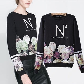 Fashion Letter Print Pattern Loose Sweater