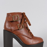 Bamboo Combat Lug Sole Ankle Boots