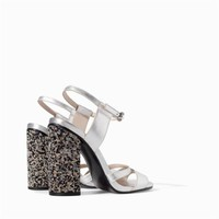 ZARA SILVER ANKLE STRAP SHOES SANDALS WITH DIAMONTE HEEL SIZE UK7 US9 EUR40
