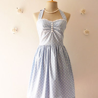 Pale Blue Dress Tea Length Dress Classic Polka Dot Dress Bridesmaid Summer Dress Party Dress Once Upon A Time -Size XS, S, M, L,XL, CUSTOM-