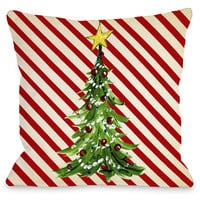 """""""Christmas Tree Stripes"""" Indoor Throw Pillow by Timree Gold, 16""""x16"""""""