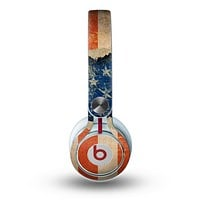 The Scratched Surface Peeled American Flag Skin for the Beats by Dre Mixr Headphones