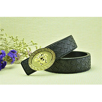 Versace Collection Italy Men's Black Leather Gold Buckle Adjustable Versace Woven Patt